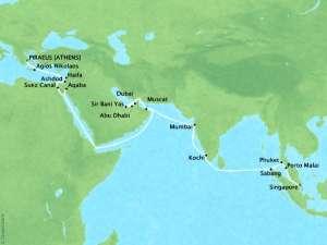 Seabourn Cruises - Seas of Sinbad - 35 Days - Map