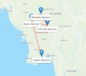 Day Myanmar Highlights: Prayers, Pagodas & Arts Map