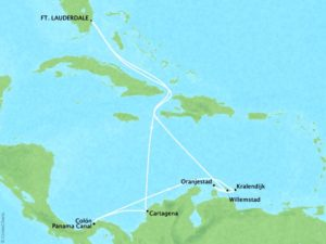 Panama Canal and Southern Caribbean Holiday map